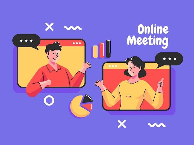 Reunião virtual coletiva reunião online e videoconferência em grupo