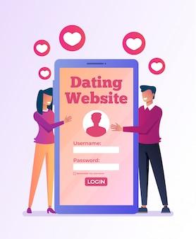 Reunião virtual de namoro por smartphone