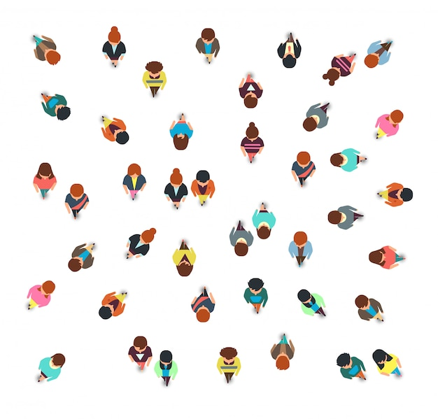 Reunindo a vista superior do grupo de pessoas, andando de homens e mulheres, ilustração em vetor multidão social isolada