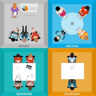 Reuniões de pessoas de negócios top view set