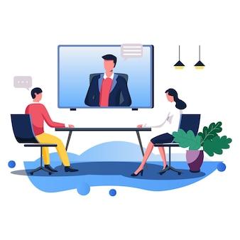 Reuniões online de negócios ilustração vetorial linha plana