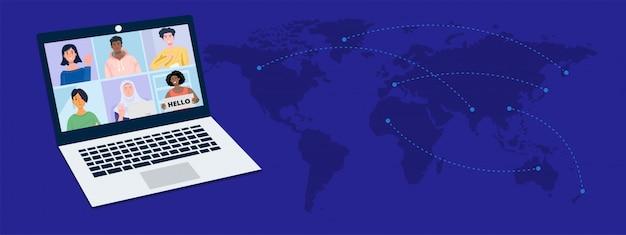 Reuniões virtuais online com mapa-múndi.