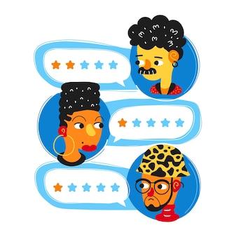 Reveja discursos de bolhas de avaliação e avatares de pessoas. projeto de ícone de avatar de ilustração de personagem de desenho animado simples estilo plano. conceito de aplicativo de avaliação de conceito de decisão, sistema de classificação de pessoas, avaliações ruins