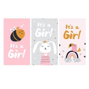 Revelação de gênero de uma menina cartões