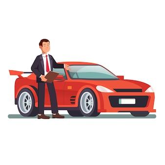 Revendedor de automóveis que mostra um novo automóvel de esportes vermelho