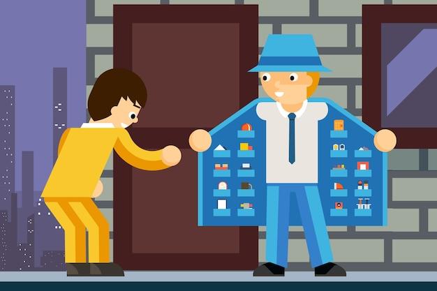 Revendedor de produtos ilegal. narcótico e cliente, negócio criminoso, bolso interno,