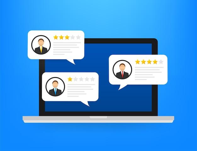 Rever discursos de bolha de avaliação na ilustração de laptop