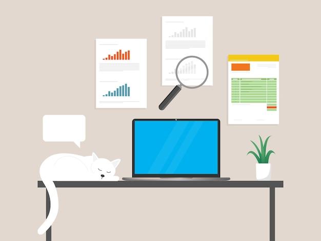 Revisão da análise geral no ícone de desenho animado do laptop