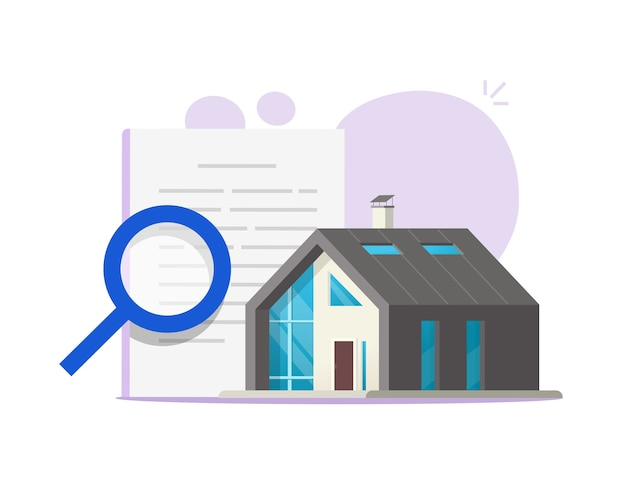 Revisão de auditoria doméstica, ilustração de inspeção de construção de casa ou documentação de apartamento de propriedade