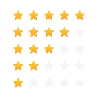 Revisão de classificação de produto de cinco estrelas do cliente