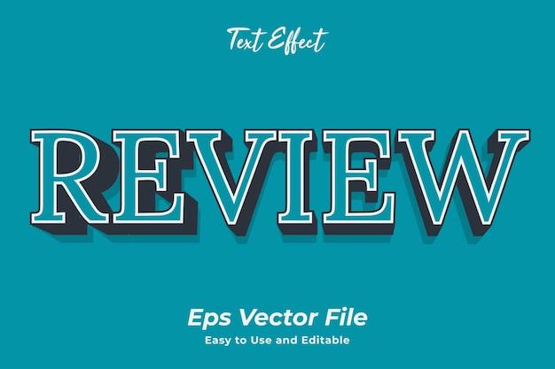 Revisão de efeito de texto editável e fácil de usar vetor premium