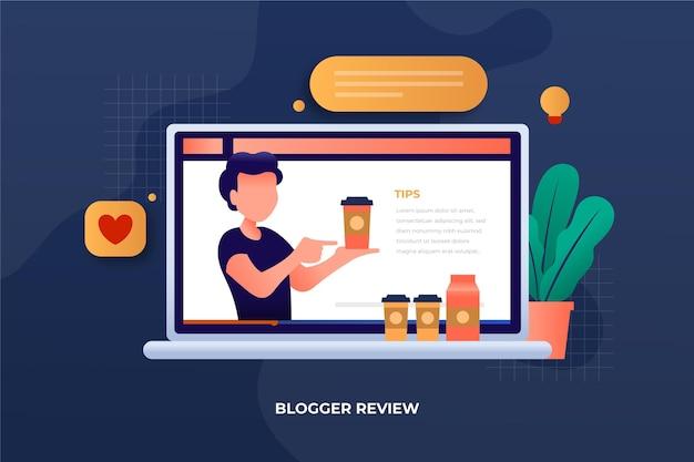 Revisão do blogger no laptop