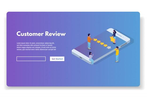 Revisão do cliente, avaliação de usabilidade, feedback, conceito isométrico do sistema de classificação. ilustração vetorial