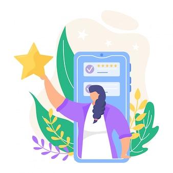 Revise a ilustração do feedback. pessoas pequenas dos desenhos animados, revendo a classificação on-line nos ícones de aplicativos do smartphone ou computador isolados no branco