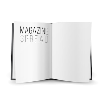 Revista aberta espalhar vetor em branco