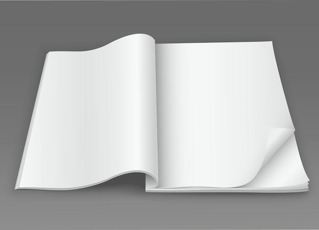 Revista branca em branco aberta em um fundo escuro