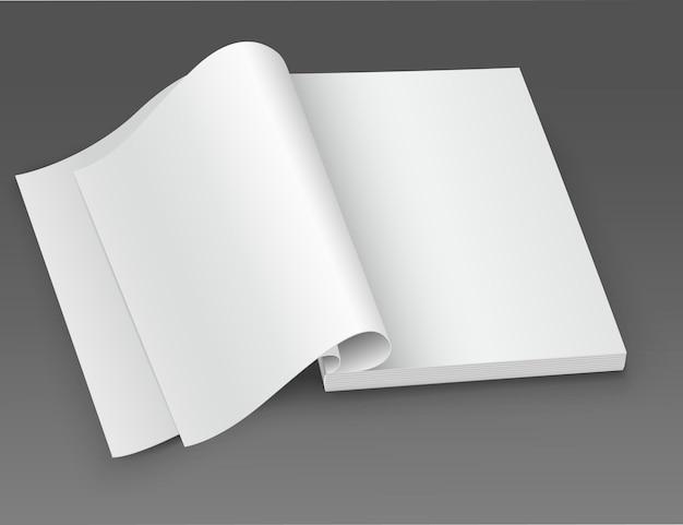 Revista branca em branco aberta