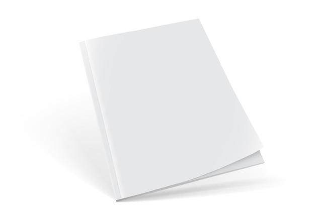 Revista branca em pé isolada no branco
