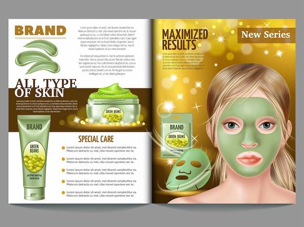 Revista de cosméticos, máscara de feijão verde, creme, esfoliante