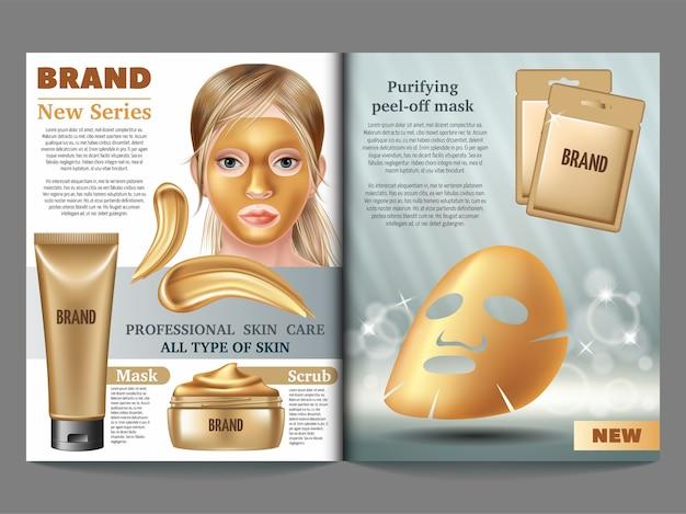 Revista de cosméticos, máscara de ouro, creme e esfoliante.