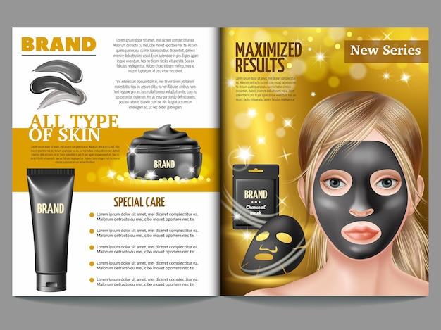 Revista de cosméticos, máscara preta, creme e esfoliante.