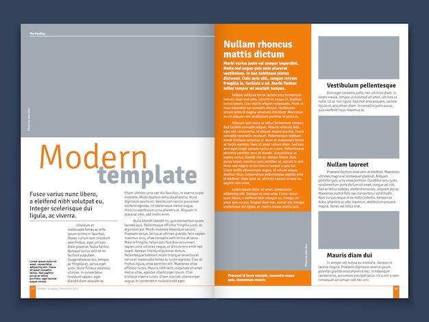 Revista moderna ou jornal layout de vetor com construção modular de texto e lugares de imagem