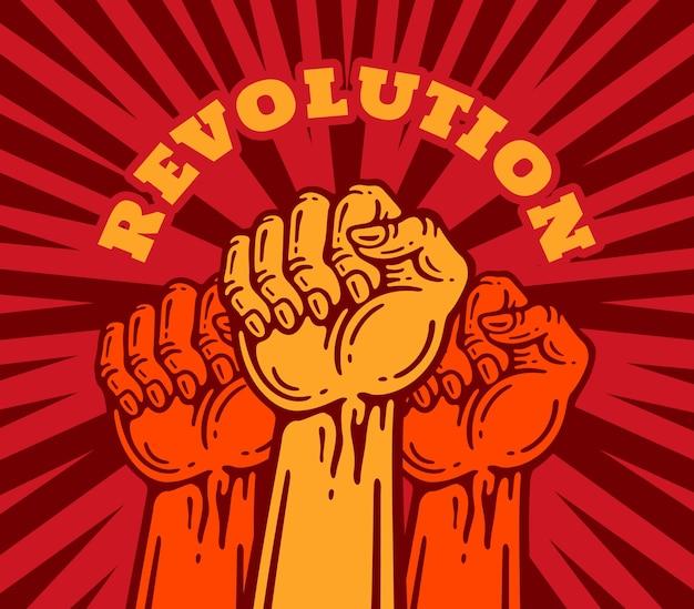 Revolução de pessoas com os punhos erguidos