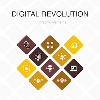 Revolução digital infográfico 10 opções de design de cor. internet, blockchain, inovação, ícones simples da indústria 4.0