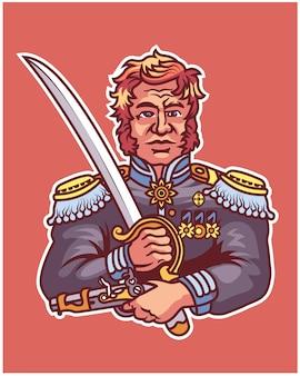 Revolução geral carregando espada e pistola mascote de personagem de desenho animado