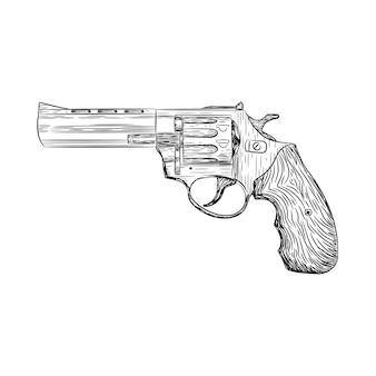 Revólver, arma, vetorial, ilustração