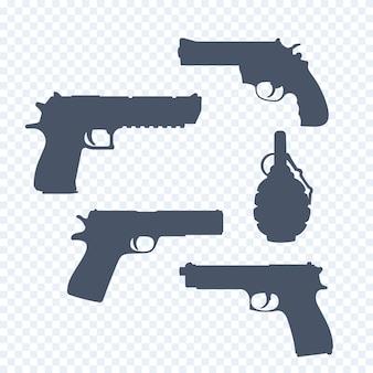 Revólver, pistolas, armas, revólveres, silhuetas de granadas, ilustração vetorial
