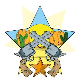Revólveres de cowboy cruzaram desenhos animados