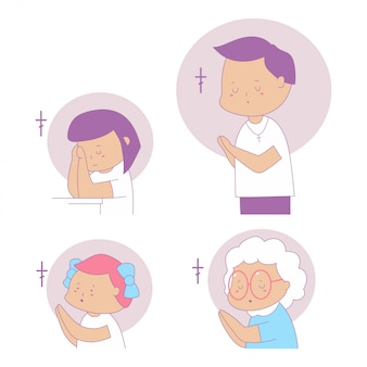 Rezando pessoas personagens de desenhos animados conjunto isolado em um fundo branco.