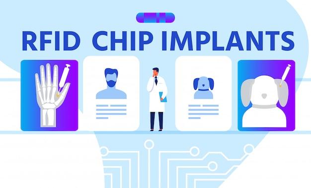 Rfid chip implants publicidade cartoon banner