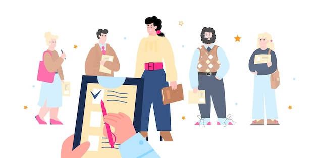 Rh olhando para carteiras de candidatos ilustração em vetor plana dos desenhos animados isolada