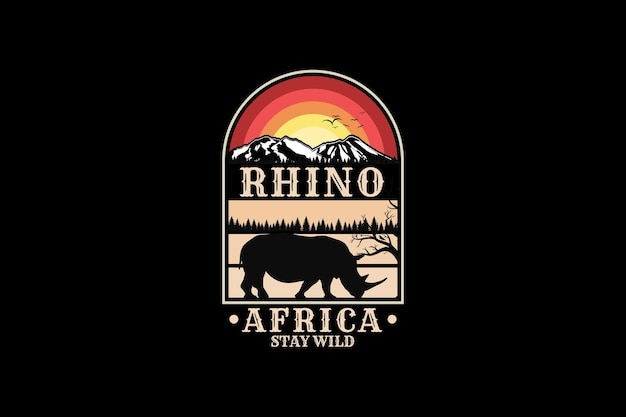 Rhino africa, design de silhueta estilo retro