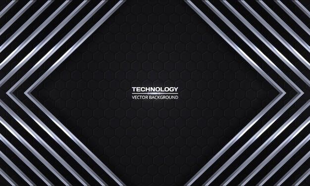 Rhombuses metálicos cinzentos em um favo de mel cinzento escuro, fundo moderno, futurista.