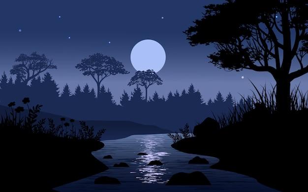 Riacho na ilustração de floresta à noite com lua cheia
