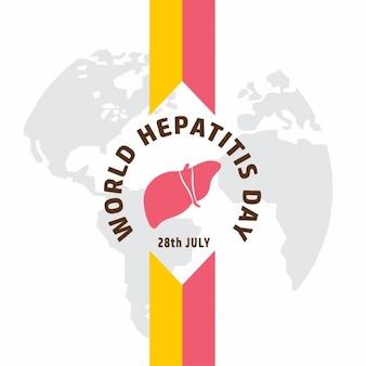 Ribbon dia mundial da hepatite bandeira sobre no globo
