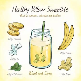 Rico em nutrientes receita smoothie amarelo
