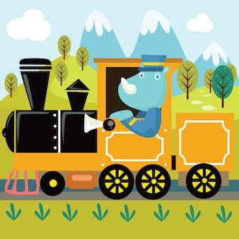 Ride train cartoon illustration