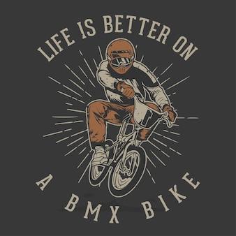 Rider bmx vintage desenhado à mão com efeito grunge e fundo de explosão estelar