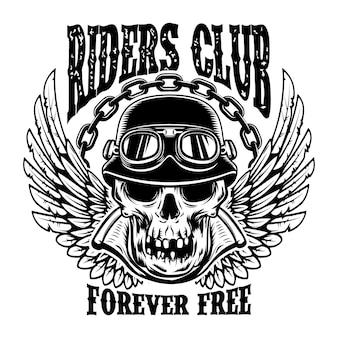 Riders club. modelo de emblema com caveira de motociclista e asas.
