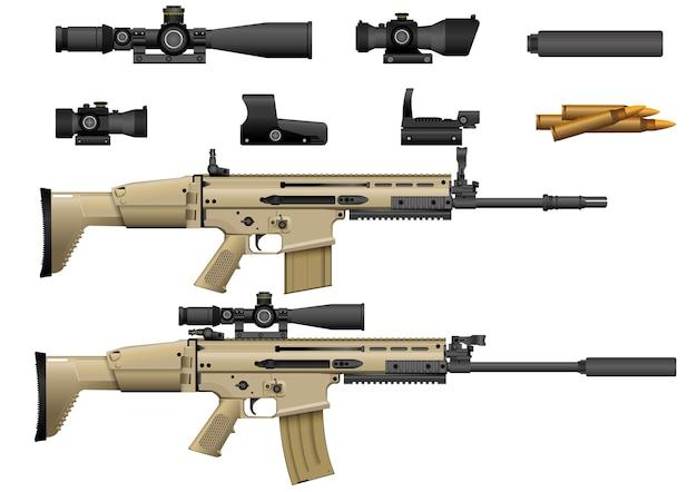 Rifle com vetor de escopo