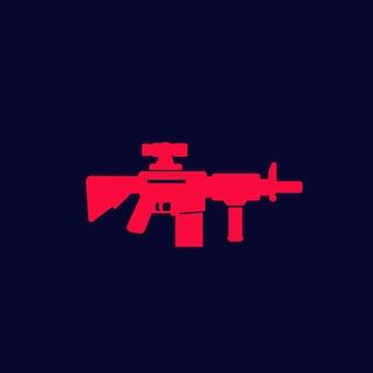 Rifle de assalto com mira óptica, ícone de arma de vetor