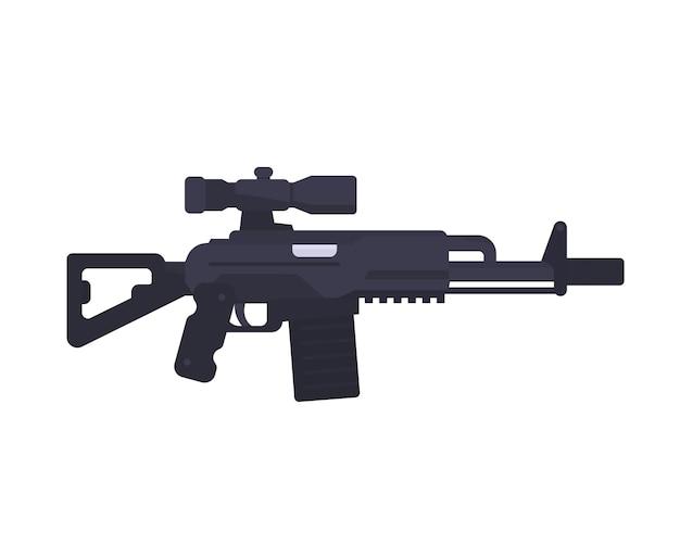 Rifle de assalto, espingarda, arma de fogo com mira óptica em estilo plano