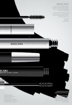 Rímel cosmético de cartaz com ilustração de embalagem