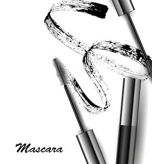 Rímel e vetor de pincelada, beleza e fundo cosmético. ilustração vetorial.