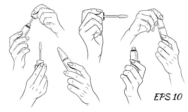 Rímel nas mãos. cosméticos para mulheres. estilo de desenho animado. conjunto de ilustrações vetoriais.