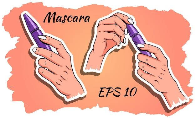 Rímel nas mãos. cosméticos para mulheres.